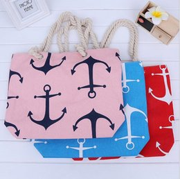 $enCountryForm.capitalKeyWord Canada - 120Pcs Boat Anchor Canvas Shoulder Bag Summer Anchor Printed Handbag Tote Bags Travel Holiday Beach Bag