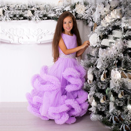 Wholesale christmas t shirts plus size for sale – custom 2017 Ball Gown Cloud Flower Girl Dresses Purple White Blue Plus Size Crystal Princess Wedding Party Gowns First Communion Dress