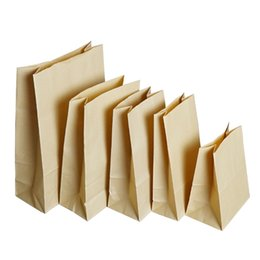Discount wholesale packaged sandwich - 50Pcs  Lot Open Top Brown Kraft Paper Bag Shopping Package Pouch For Sandwich Food Storage Flat Bottom Gift Toy Craft Pa