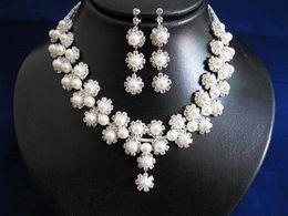 $enCountryForm.capitalKeyWord Australia - Rhinestone Pearl Bridal Jewelry Fashion Crystal Pearl Earring Necklace Set Women Wedding Evening Prom Party Jewelry Pearl Eardrop