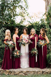 Wholesale Burgundy Chiffon Long Boho Country Bridesmaid Dresses Formal Florals Autumn Garden Wedding Party Guest Junior Gowns