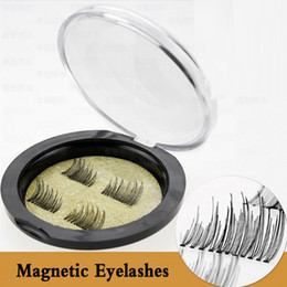 Plastic Black Magnets Canada - Most Popular 3D Double Magnetic False Fake Eyelashes Eye Makeup Accessories Magnet Eye Lashes Extension Support Drop shipping