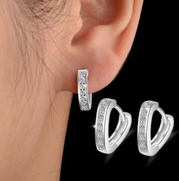Love Letter Stud Earrings NZ - Fashion V letter Shape Love Heart White Crystal Stone Hook Stud 925 Silver Plated Earrings Ear Jewelry for women Xmas Gift EH149