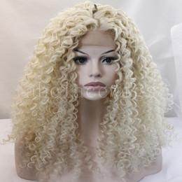 wigs for african american women 2019 - long kinky curly blonde wigs for african american wigs for black women ombre heat resistant synthetic wig long women hai
