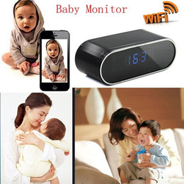 Discount live view camera - WIFI Clock IP cameras wireless H.264 1080P night vision Clock camera Live view motion detection 160 degree view alarm cl