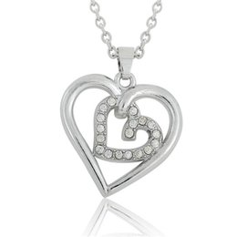 Pendants Designs For Girls NZ - Fashion Simple Design Silver Plated Heart Shape Crystal Embedded Two Heart Telesthesia Necklace Pendant for Women Teen Girls