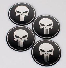 Discount punisher sticker car - High Quality 56.5mm Aluminum alloy Sticker emblem badge Black Ground White Beard Skull Head Punisher symbol for Car Whee