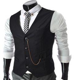 waistcoat chain 2019 - Wholesale- Spring Autumn hot sale Men Vest Brand Casual wear Simple Business slim vest Metal chain waistcoat Male Sleeve