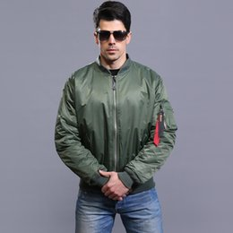 l style flights Canada - Free 2016 High Quality Autumn Ma1 Thin Style Army Green Military Motorcycle Ma-1 Flight Jacket Pilot Air Force Men Bomber Jacket