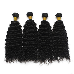 quality afro hair extension Australia - 10Bundles lot Top Quality Soft Virgin Brazilian Afro Curly Wave Hair Weave 100 Human Remy Hair Extension 1B Natural Black Full Peruvian Hair