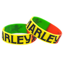 China Wholesale 50PCS Lot BOB MARLEY Silicone Wristband Bracelet 1 Inch Wide Band For Give Away Gift cheap wholesale jelly suppliers