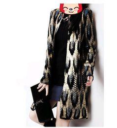 Leopard Sweaters Canada - Wholesale-Autumn winter Women Fashion Gold Leopard knit sweater Long Sleeve long Cardigan Sweater Coat