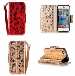 Discount pink glitter butterflies - Bling Glitter Butterfly Wallet Leather Pouch Case For Iphone 8 7 Plus 6 6S 5 5S SE 5C Ipod Touch 5th 6th Sparkle Stand C