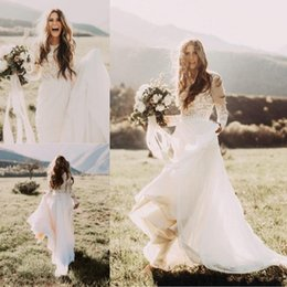 Line bateau chiffon Lace online shopping - Cheap Bohemian Beach Lace Wedding Dresses With Sheer Long Sleeves Bateau Neck A Line Appliqued Chiffon Boho Bridal Gowns