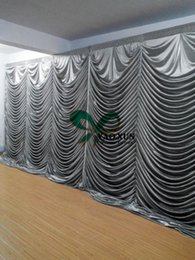 waves backdrop 2020 - Silver Color Wave Shape Wedding Backdrop Curtain \ Stage Drape Decoration Free Shipping