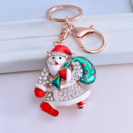 $enCountryForm.capitalKeyWord Canada - Kimter Santa Claus Crystal Keychain Key Ring Hook Women Bag Charm Ornament Decorations Key Hanger Key Holder Pendant Gift 3 Styles C11L