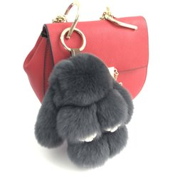 "Chinese  15cm 6"" Dark Gray-Hot Sale 100% Genuine Real Rabbit Rex Fur Bunny Tassels Keychain Pendent Purse Toy doll manufacturers"