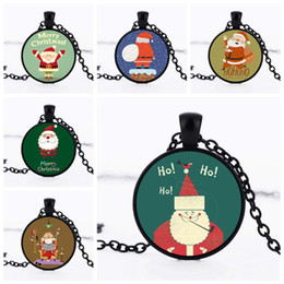 merry christmas pendant NZ - Charm Necklaces HOHOHO Merry Christmas Halloween 6 cute Santa Claus sign 25mm Pendant Necklace Fashion DIY Jewelry Christmas gifts for kids