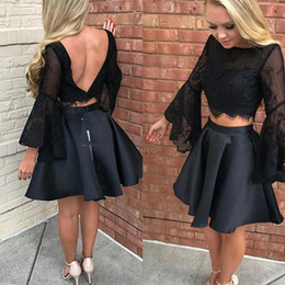 Adolescentes Sexuales Dos Piezas Baratos-Dos piezas de vestidos de baile corto Lace manga larga negro formal vestido de cóctel Sexy Backless 2017 Homecoming barato vestido para adolescentes