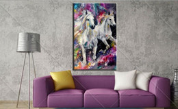two horse oil painting Australia - Colorful Abstract two white horses,Pure Hand Painted Modern Wall Decor Abstract Animal Art Oil Painting On Canvas.customized size al-Dafe