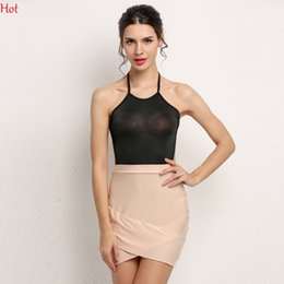 Nouvelles Robes Élégantes Pour Dames Pas Cher-New Stylish Lady Vêtements Womens Dress Sexy Patchwork Backless Bandage Robes Spaghetti Strap Club Party Halter Bodycon Mini-robe SV018598