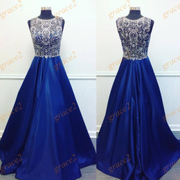 Barato Imagens De Dance Dress-Major Beading Royal Blue Prom Dresses 2017 com gola e sem mangas Imagem real A Line Ring Dance Dress Custom Made