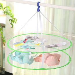 $enCountryForm.capitalKeyWord Canada - 3pcs lot mixed color Creative Bilayer Network Clothes-drying Basket Practical Laundry Clothesline Mesh Network Folding Laundry Basket