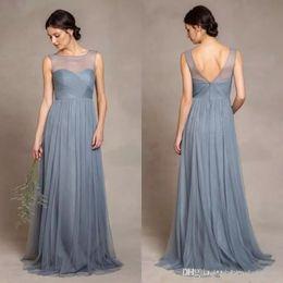 Discount grey long sleeve bridesmaid dress - Dusty Grey Tulle Bridesmaid Dresses Illusion Scoop Neckline Pleats Bodice A Line Floor Length Elegant Women Wedding Part