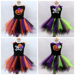 kids match tutu skirt 2019 - Little Gilr's Holloween Cosplay Color Match Tutu Skirts Vest Set Kids Festival Costumes children clothing top quali