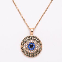 Chinese  18K Gold Plated Evil Eye Necklace For Women Crystal Blue Black Strass Pendant Necklaces Women Charms Necklace 12PCS manufacturers