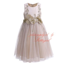 ElEgant floral EmbroidEry online shopping - Pettigirl Girl Gown Dress Lotus Leaf Chiffon Sleeveless Elegant Champagne Floral Embroidery Tulle Kids Long Dress Kids Wear G DMGD908