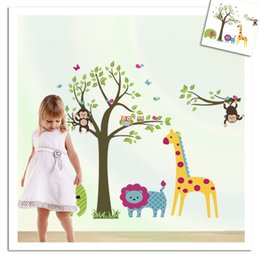 large forest wall stickers Australia - Forest Tree Branch leaf Animal Cartoon Owl Monkey giraffe Elephant Wall Stickers For Kids Rooms Boys Girls Children Bedroom Home Decor