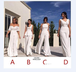 Barato Calças De Renda Azul-Sexy White Unique Bridesmaid Pants Off Shoulder Lace Appliqued Backless Prom Evening Party Pants Maid Of Honor Pants