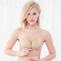Tasses À Main Autocollantes En Gros Pas Cher-Wholesale- soutien gorge bralette nubra Self Adhesive sans bretelles Bandage Stick Gel Silicone Push Up 1/2 tasse coton Drawstring Invisible Bra