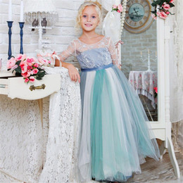 Wholesale latest red beads resale online - Cute Half Sleeves Girl Pageant Dresses Latest Beads Green Grey Flower Girl Dresses Sweep Train Sash Holly Communion Gowns