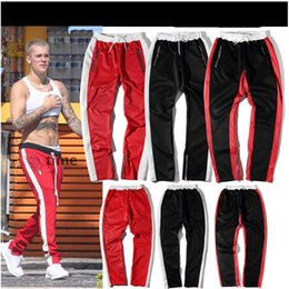 Classique Homme Classique Pas Cher-Automne Vellsar Pantalon Zipper Hip Hop Coton Jogger Vêtements Urbains Casual Hommes Pantalons Bas Rap Classic Black Red Pants