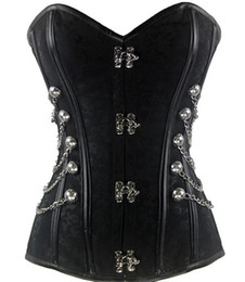 Wholesale free Corset with Clasp Fasteners Chain Steel Bone Corset Waist Training Gothic Bustier with Round Buckle Body Shaper