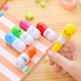Cartoon pills pen online shopping - New Stationery Smiling Face Pill Shape Ballpoint Pen Cute Cartoon Favor Retractable Ball Pen Creative Stationery Children Gifts
