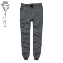 terry cotton NZ - Wholesale-Abeillevie New Fashion Cotton Long Men's Pants Solid French Terry Casual Pants Men Big & Tall Plus Size Joggers SweatPants 8611