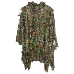 Ensemble de costume de chasse Ghillie 3D Camo Bionic Leaf Camouflage Jungle Woodland Birdwatching Poncho Manteau Vêtements de chasse durables + B