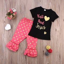 Baby Girl Summer Suits Australia - Toddler Suit Short Sleeves Black T-shirt+Dot Pink Bell Bottoms 2Pcs High Quality Summer Preppy Clothing For Baby Girl 6M-3Y Clothes Factory
