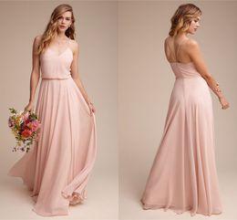 $enCountryForm.capitalKeyWord Australia - Blush Pink Elegant A Line Chiffon Bridesmaid Dresses 2020 Straps Spaghetti Low Back Zipper Maid Of Honor Gowns Cheap Wedding Guest Dresses