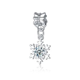 $enCountryForm.capitalKeyWord UK - Zircon Snowflakes Pendant Fits Pandora Bracelets Charm Beads With Crystal Big Hole Women Charm for Charm Snake Bracelets Necklaces
