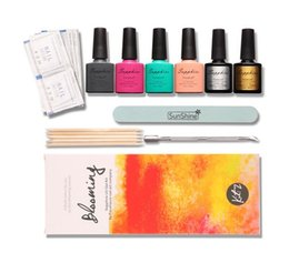 Barato Ems Unha Gel-DHL EMS FOCALLURE Blooming Nail Kits 2 Sapphire Nail Art Kits Base Coat Top Coat 4 cores Diamond UV Gel Polish