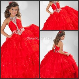 Nuovo Arrivo Bella bambini per bambini ball gown halter collare in rilievo lunghezza del pavimento lungo rosso pageant abiti da sposa abiti da festa di nozze in Offerta