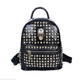 Free shipping punk bags online shopping - 2018 Fashion punk rivet backpack school bag unisex backpack For School student bag men travel STARK BACKPACK