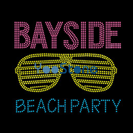 Estate di alta qualità Bayside Beach Party Occhiali da sole Ferro su strass Trasferimento Hot Fix Applique per T-shirt da donna