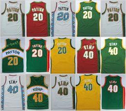 ce5cf938e26 online shopping Gary Payton yellow green white red Stitched Jerseys  Throwback Cheap Shaw Kemp Basketabll Jerseys