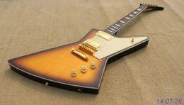Custom blaCk white guitar online shopping - Custom Shop ES Shaped Vintage Sunburst Explorer Electric Guitar Black Back Plain Maple Top Gold Parts White Pickguard Gold Speed Knobs
