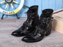 Ankle High Cowboy Boots Men Canada - 6CM Pointed Toe High Top Dress Boots Man Fashion Buckle Lace Up Ankle Boot Black Short Boot Man,Big size EU38-46